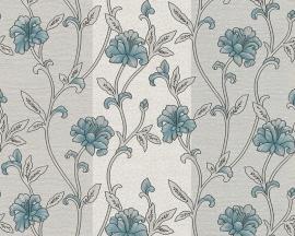 hermitage 9 9434-41 blauw grijs bloemen behang