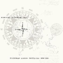 Esta Regatta Crew 136420 grijs zwart wit kompas behang