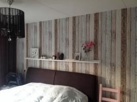 sloophout steigerhout hout behang beige bruin strepen vlies zx116