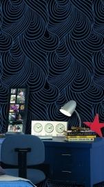 retro vlies behang blauw Zwart x22