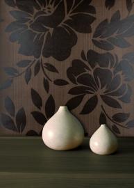 bruin bloemen vlies behang x50