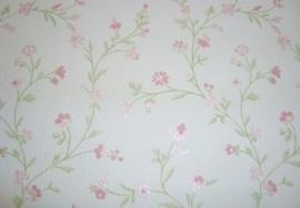Engels bloemen behang groen roze wit behang 35