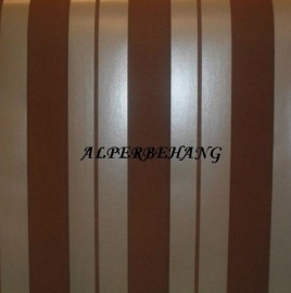 bruin creme streepjes 3d flock effekt vinyl behang