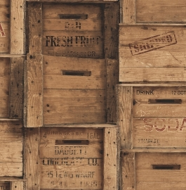 Dutch Reclaimed behang FD22348 Wood Crates
