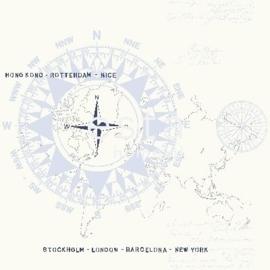 Esta Regatta Crew 136421 blauw gebroken wit kompas behang