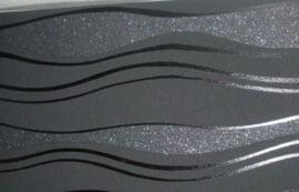 breed behangrand grijs zilver met glitter x65
