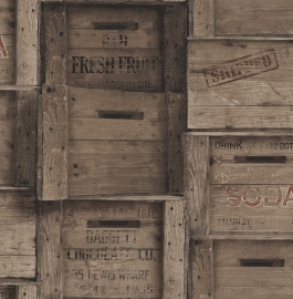 Dutch Reclaimed behang FD22350 Wood Crates