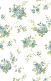 dollhouse 68846 wit blauw groen stijlvol bloem behang
