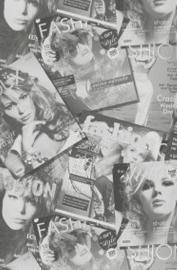 Tijdschriften fashion magazine behang grijs mw 50101