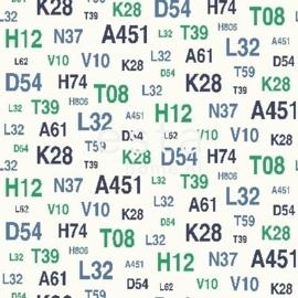 Esta Regatta Crew 136439 groen blauw cijfers letters behang