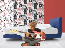 Dutch Jet Setter behang F569-09 Music Guitars Union Jack