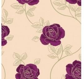 14831 creme paars bloemen behang -