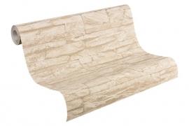 beige vlies 3d steen behang xx52