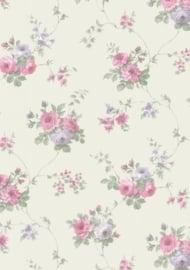 dollhouse 68848 paars groen wit stijlvol bloem behang