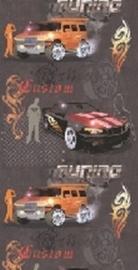 jongens behang oranje autos grijs stoer behang 05