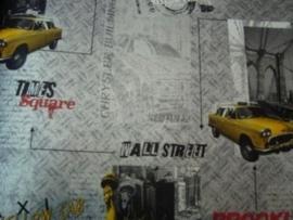 stoer zilver geel newyork taxi behang 93