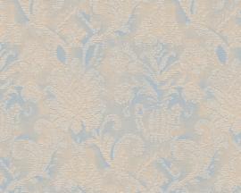Behang blauw, bruin, metallics verouderde look 338 683