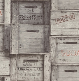 Dutch Reclaimed behang FD22349 Wood Crates