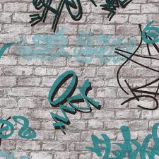 GRAFFITI  BEHANG  BLAUW