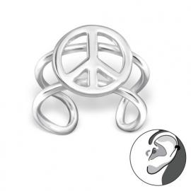 Zilveren oorclip peace