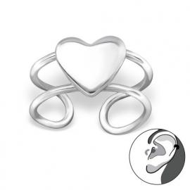 Zilveren oorclip hartje