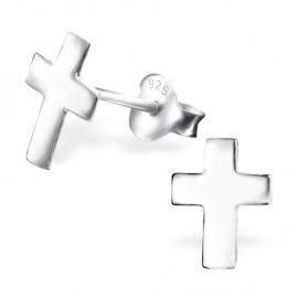 Zilveren oorstekers kruis
