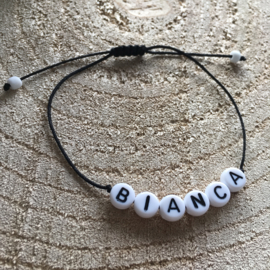 The Name bracelet black rope | Naamtouwtje