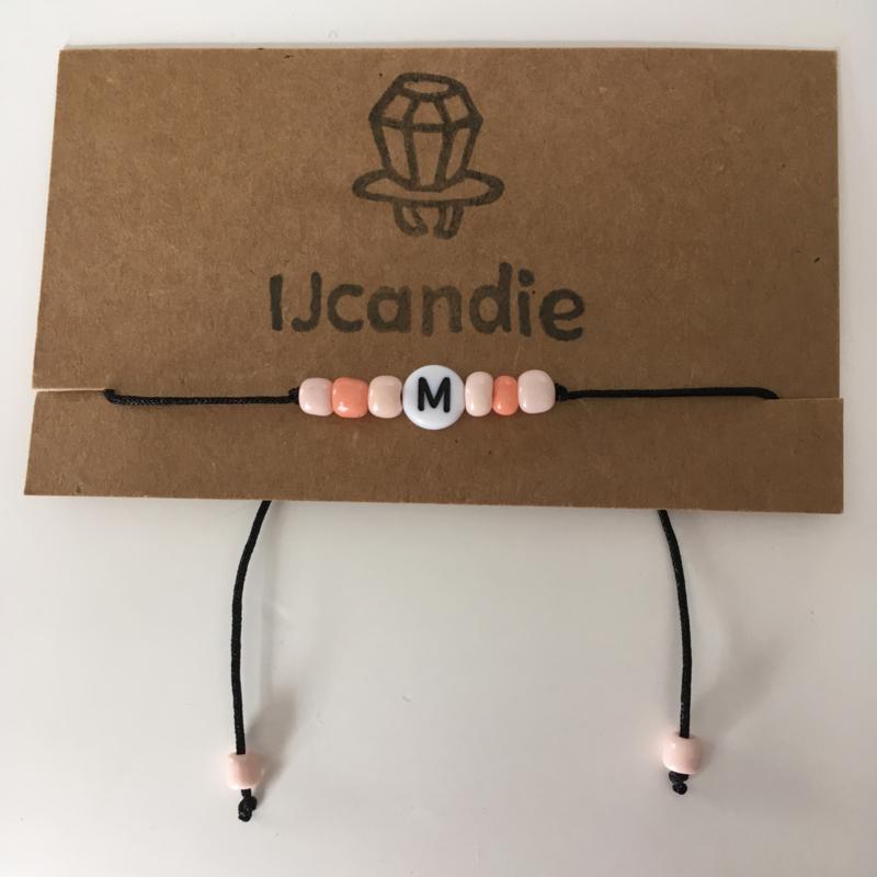 Peachy initial bracelet