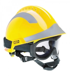 MSA F2 X-TREM helmet yellow with goggle