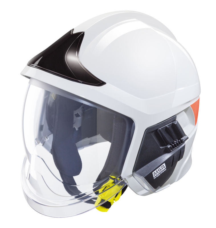 MSA Gallet F1 XF helmet white with black front plate