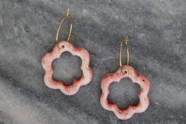 Porseleien oorbellen met 24 karaats gouden luster