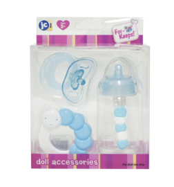 Accessories for dolls Berenguer - Blue baby bottle, rattle and pacifier set