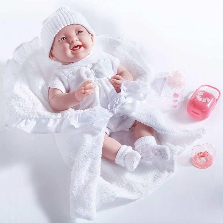 Berenguer Boutique doll 39 cm - 18786 The newborn dressed in white with blanket and accessories