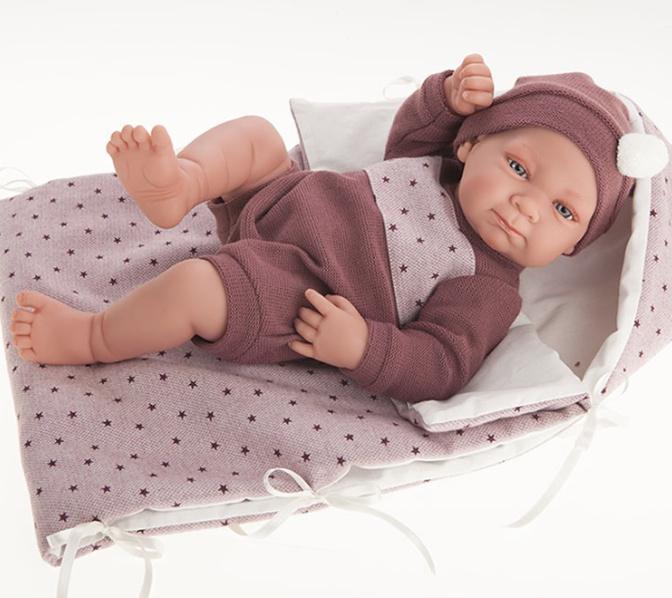 Antonio Juan doll 42 cm - Newborn girl Olivia with sleeping bag