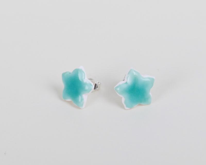 Zomerse blauwe porseleinen oorbellen