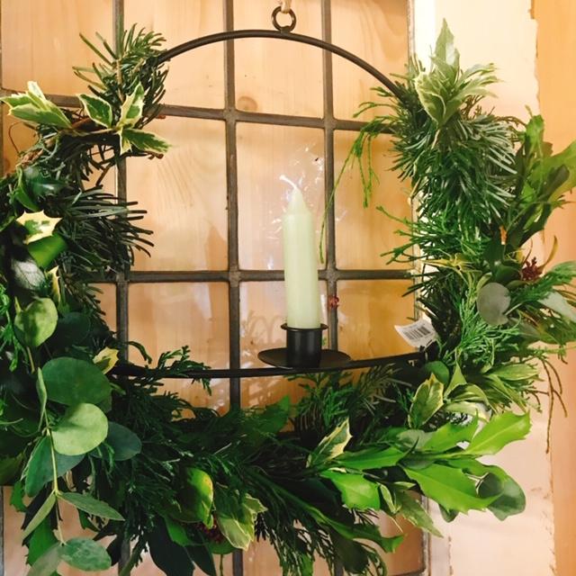 DIY Kerstkrans met kaarsenhouder
