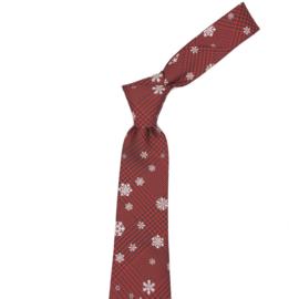 Luxe Kerst Stropdas Rood Geruit Met Sneeuwvlokken