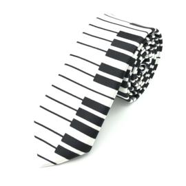 Carnaval & Feest Stropdas Zwarte Pianotoetsen
