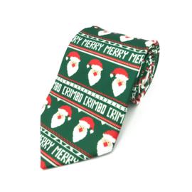 Stropdas Groen Met Kerstman 'Merry Crimbo'