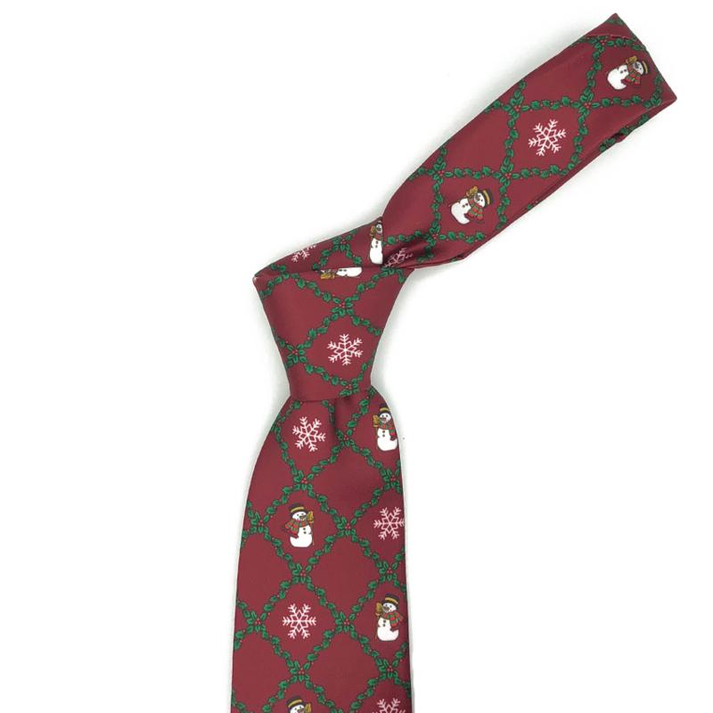 Kerst Stropdas Rood Geruit Met Sneeuwpoppen En Sneeuwvlokken