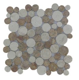 Marmer munten mozaïekvloer bruin en creme Coin