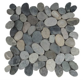 Riverstone pebble flat kiezelvloer mix groen/grijs