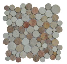 Marmer munten mozaïekvloer terracotta en creme Coin