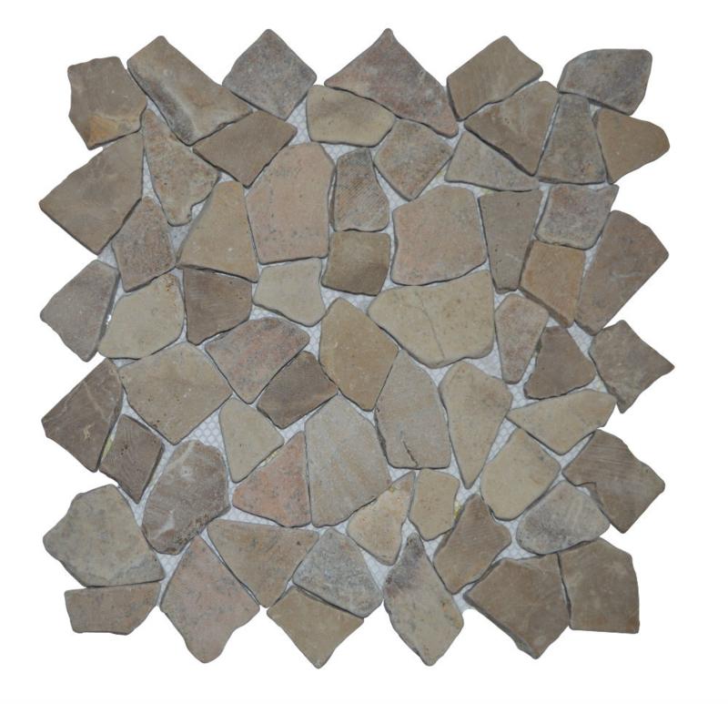 Gebroken marmer Interlocking mozaïekvloer licht bruin