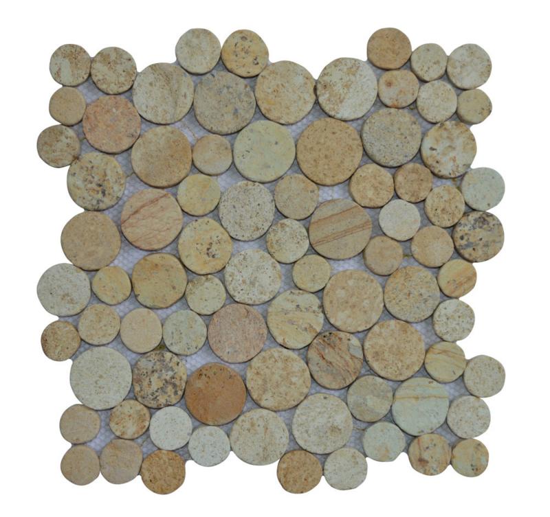 Marmer munten mozaïekvloer geel - Coin