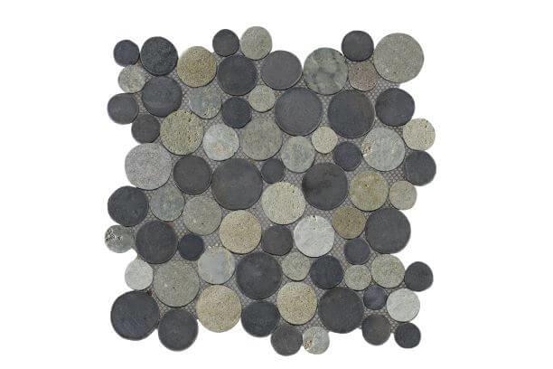 Marmer munten mozaïekvloer licht en donker grijs Coin