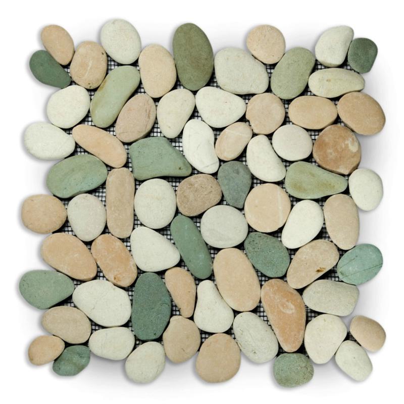 Riverstone pebble kiezelvloer groen /creme / rose