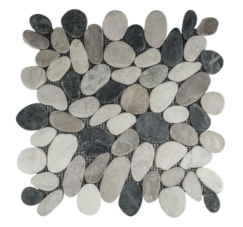 Riverstone pebble flat kiezelvloere mix zwart/creme/bruin