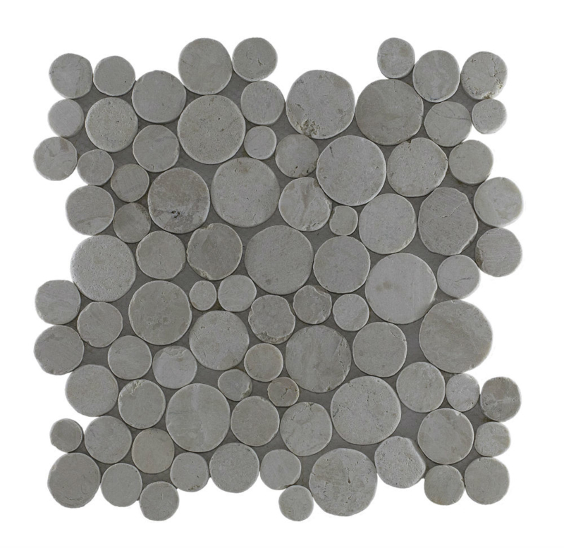 Marmer munten mozaïekvloer creme Coin
