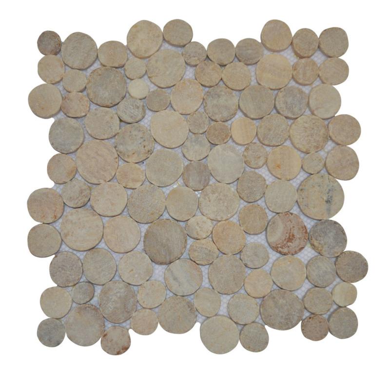 Marmer munten mozaïekvloer onix - Coin